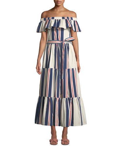 Off-the-Shoulder Striped Cotton Maxi Dress