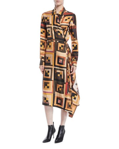 Long-Sleeve Drape Panel Patchwork-Quilt Print Silk Shirtdress