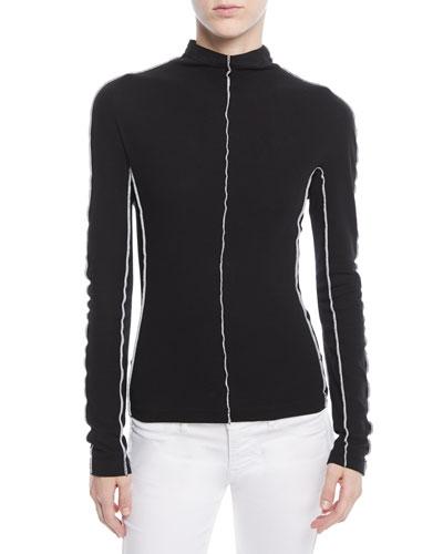 Mock-Neck Long-Sleeve Reverse-Seam Cotton Jersey Top