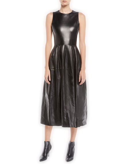 Sleeveless Fit And Flare Lambskin Leather Midi Dress In Black