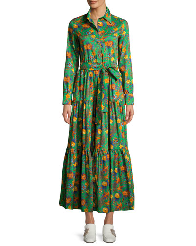 The Bellini Button-Front Long-Sleeve Floral-Print Cotton Shirtdress