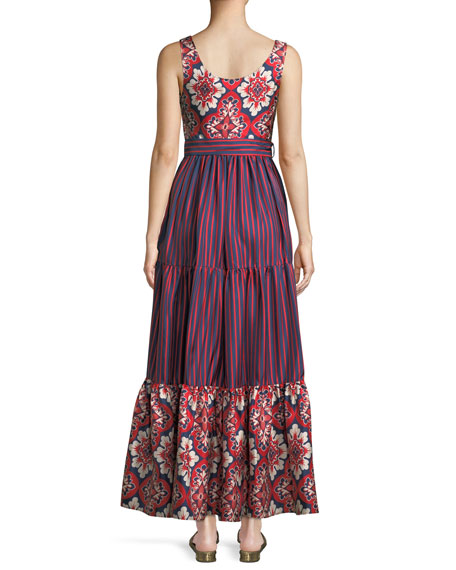 Pellicano Scoop-Neck Sleeveless Mixed-Print Silk Maxi Dress