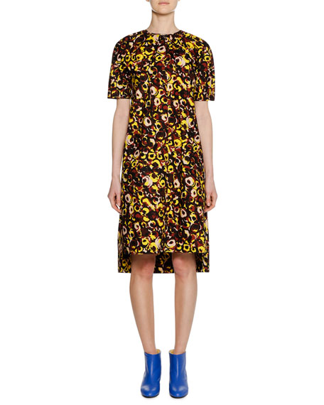 Short-Sleeve Crewneck A-Line Printed Cotton Woven Dress