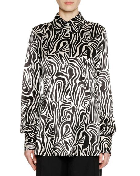 Long-Sleeve Button-Down Zebra-Print Woven Shirt