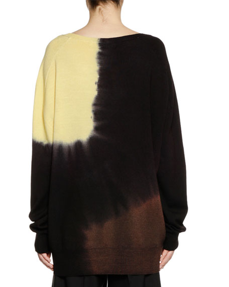 V-Neck Long-Sleeve Tie-Dye Wool Knit Sweater