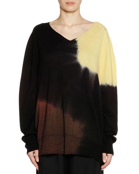 V-Neck Long-Sleeve Tie-Dye Wool Knit Sweater