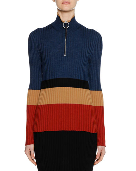 Long-Sleeve Turtleneck Colorblocked Wool-Silk Knit Sweater in Blue