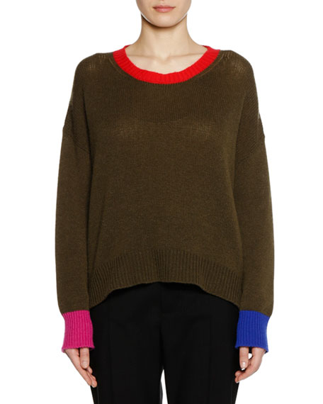Crewneck Long-Sleeve Cashmere Knit Sweater