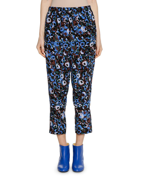 Printed Straight-Leg Cropped Silk Pants in Blue
