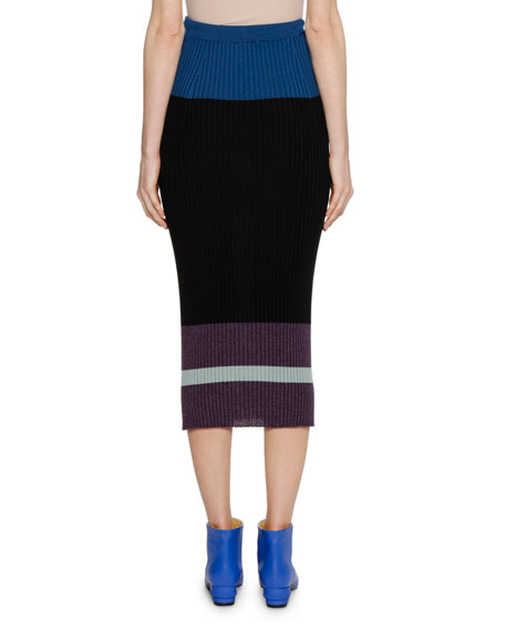 Colorblocked Fitted Ribbed Knit Wool-Silk Midi Skirt
