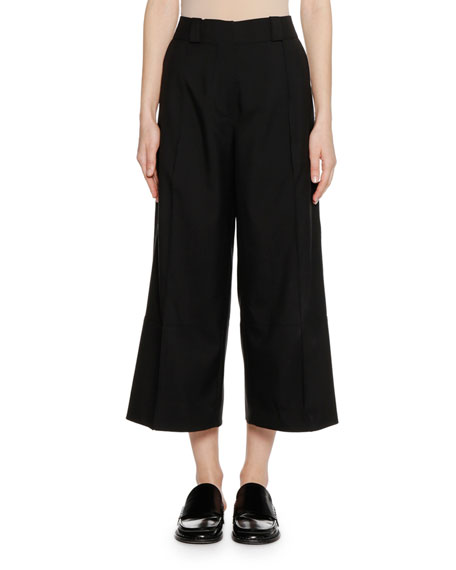 Wide-Leg Cropped Virgin-Wool Woven Pants