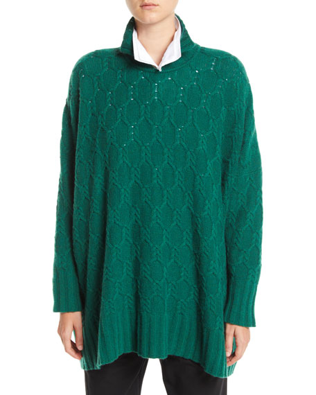 High-Neck Cable-Knit Cashmere Pullover Sweater