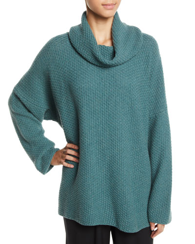 Cowl-Neck Long-Sleeve Boucle Knit Sweater