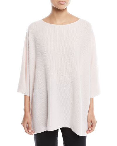 3/4-Sleeve Mini Moss-Stitch Cashmere Top