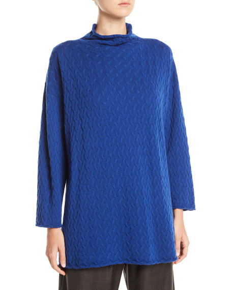 Funnel-Neck Long Cashmere Knit Sweater