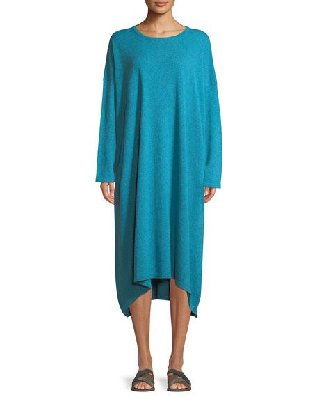 ESKANDAR Smaller Front Larger Back Long-Sleeve Cashmere Dress in Turquoise