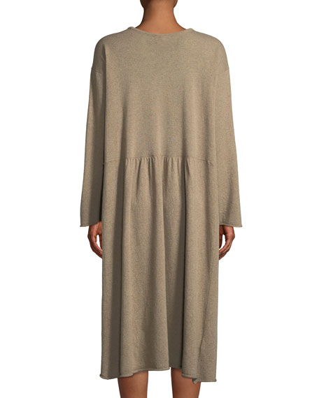 Crewneck Long-Sleeve A-Line Cashmere Dress