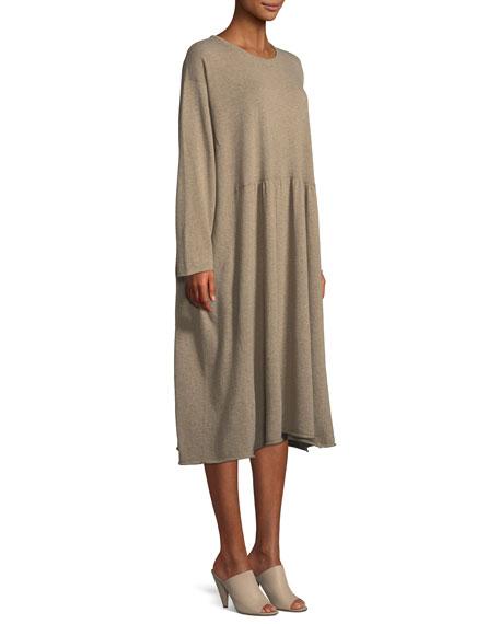 Crewneck Long-Sleeve A-Line Cashmere Dress