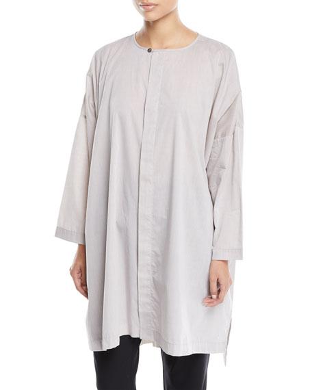 ESKANDAR Longer-Back Round-Neck Melange Cotton Shirt W/ Slits in Beige
