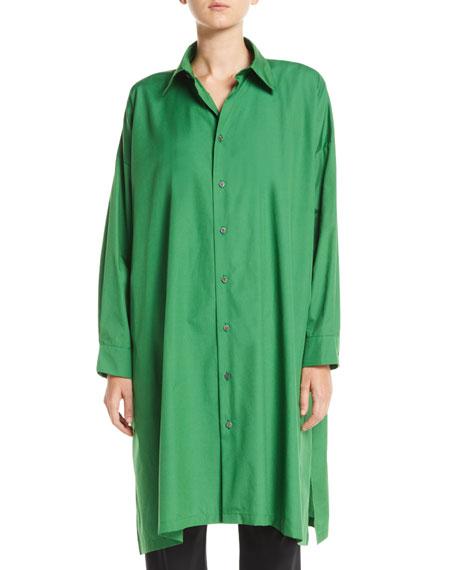 ESKANDAR Button-Front A-Line Long Cotton Shirt W/ Slits in Green