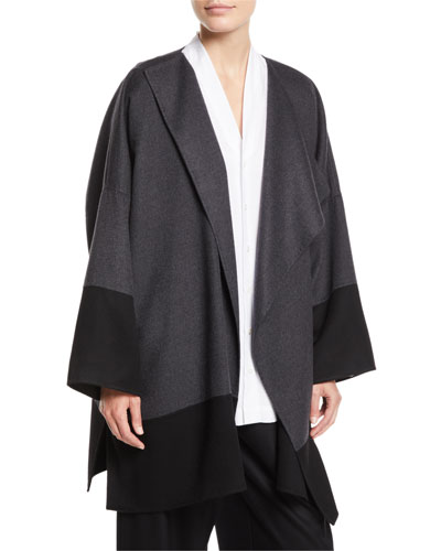 Draped-Front Colorblocked Cashmere Coat