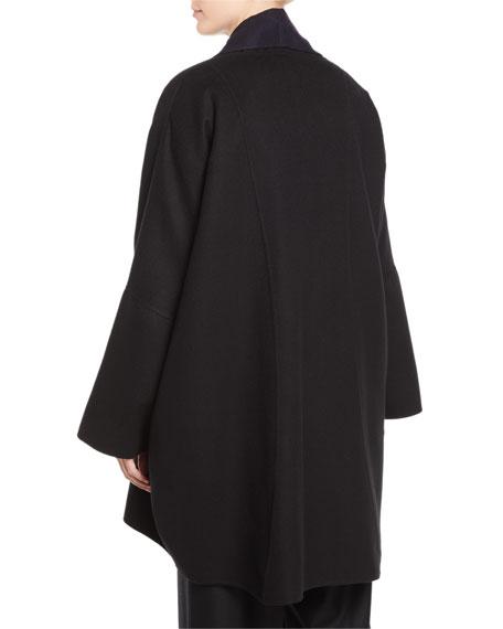 Shawl-Collar Open-Front Paneled Back Cashmere Coat