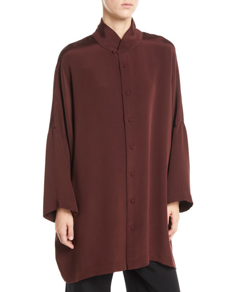 ESKANDAR MANDARIN-COLLAR BUTTON-FRONT DROPPED-SHOULDER SILK BLOUSE