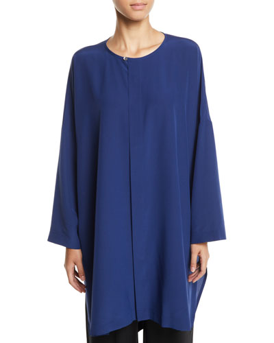 Long-Sleeve Longer-Back Silk Shirt w/ Side Slits
