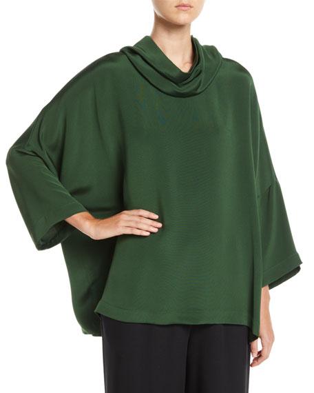 ESKANDAR Cowl-Neck Dropped-Shoulder Silk Blouse in Black