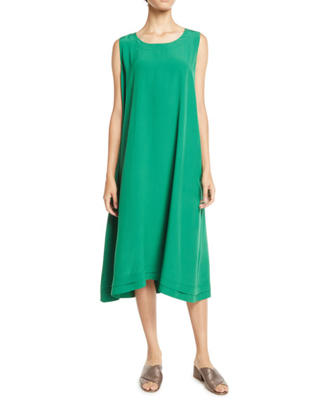 ESKANDAR CREWNECK SLEEVELESS SILK SHIFT DRESS W/ PLEATED EDGE