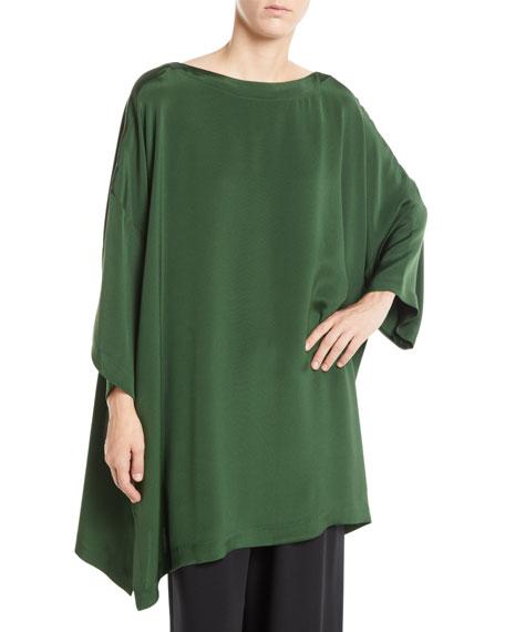 ESKANDAR Bateau-Neck 3/4-Sleeve Silk Tunic Blouse W/ Slits in Green