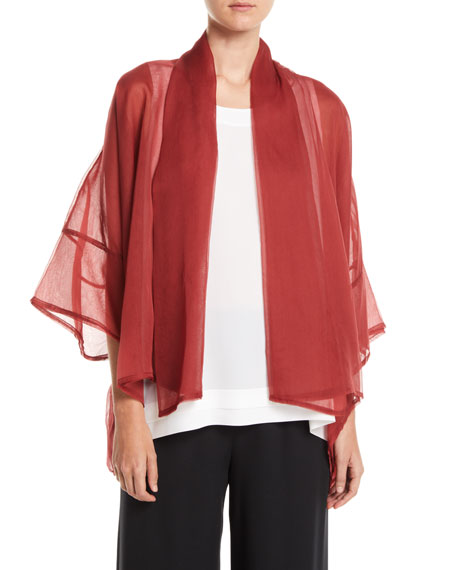 WIDE SHORT-SLEEVE SHAWL-COLLAR SILK CHIFFON JACKET