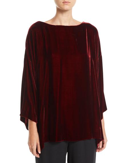 ESKANDAR Bateau-Neck 3/4-Sleeve Velvet Long Tunic Top in Red