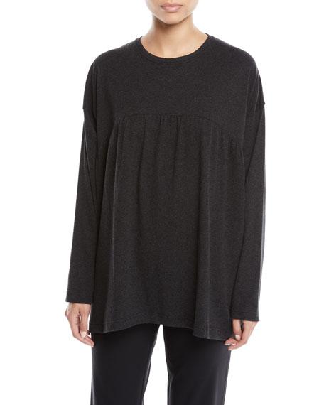 Pleated Front Round-Neck Melange Pima Cotton Jersey T-Shirt