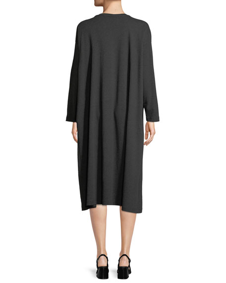 Crewneck Long-Sleeve Pima Cotton Jersey T-Shirt Dress w/ Pleated Front Panel