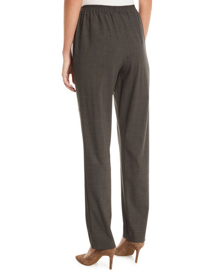 Narrow-Leg Pull-On Stretch-Wool Trousers