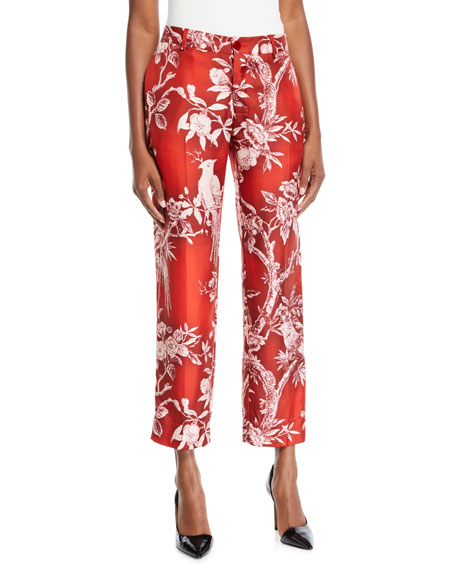 FRS BY FRANCESCA RUFFINI Mid-Rise Straight-Leg Cropped Floral-Print Satin Trousers in Red/White