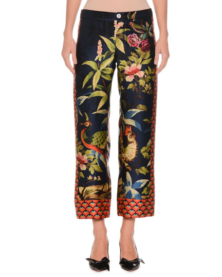 Jungle Foliage Needlepoint Side-Stripe Silk Crepe Cropped Pants