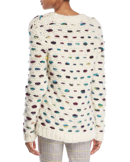 Marello Crewneck Cashmere-Wool Cable-Knit Sweater