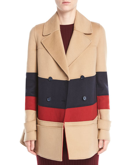 LEON DOUBLE-BREASTED COLORBLOCKED CASHMERE PEA COAT