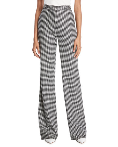 Vesta Wide-Leg Wool-Cashmere Houndstooth Pants