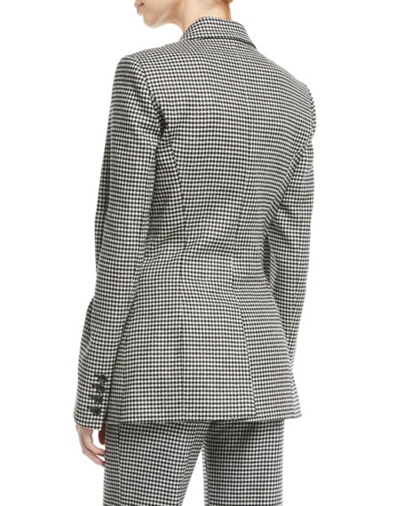 Dario Double-Breasted Houndstooth Wool-Cashmere Blazer