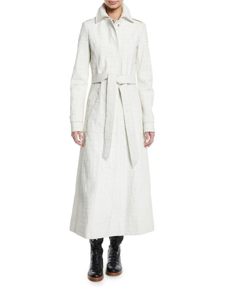 Embossed Crocodile Leather Self-Belt Trench Coat, White