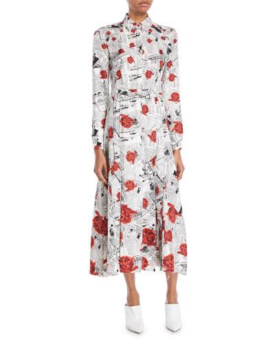 Jane Button-Front Long-Sleeve Newspaper & Rose Print Shirtdress