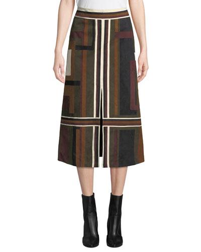 Isidoro Colorblocked Suede Skirt