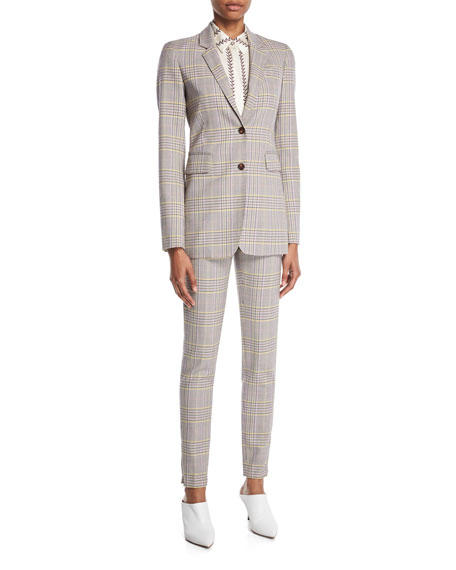 Lisa Skinny-Leg Plaid Wool Sportswear Pants