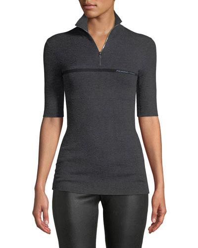 High Zip-Neck Short-Sleeve Wool-Silk Pullover Sweater