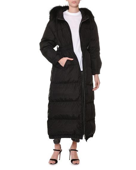 25acba400 Fur-Hood Cinch-Waist Long Quilted Puffer Coat