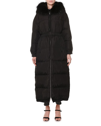 Fur-Hood Cinch-Waist Long Quilted Puffer Coat