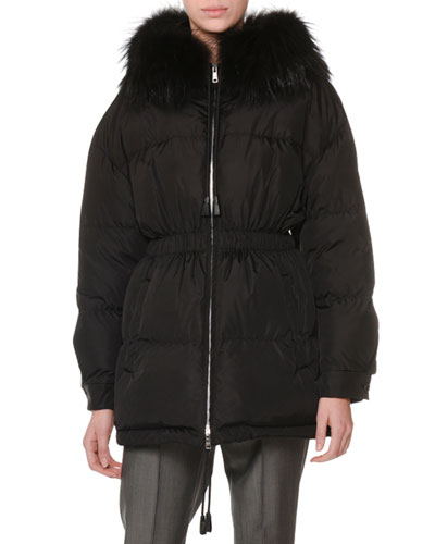 Zip-Front Drawstring Quilted Puffer Coat w/ Fur Collar